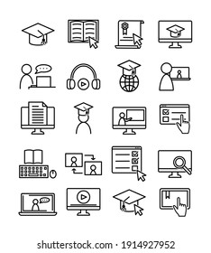 Sat of online education icons. Pictograms for web. Line stroke. Isolated on white background. Vector eps10. Online seminar, training.