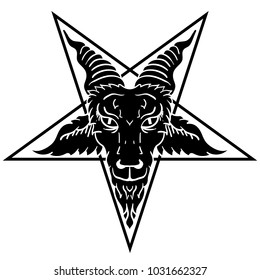 Satanic goat head on pentagram. Baphomet. Illustration for tattoo, print, emblem.