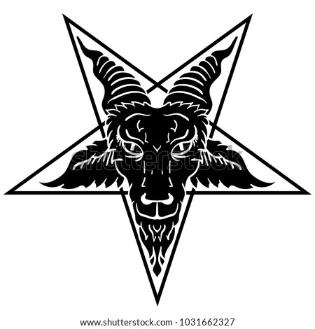 Satanic Goat Head On Pentagram Baphomet Stock Vector Royalty Free