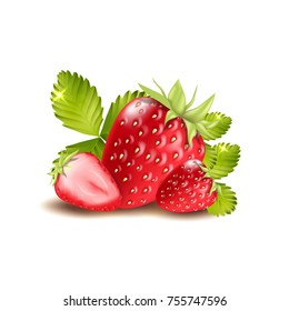 Satawberries isolated on white background. 3d vector illustration.