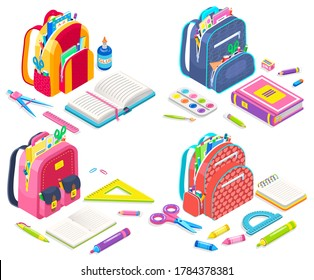Satchels set vector, schoolbags loaded with supplies for classes back to school concept. Bags with textbooks and notebooks, palette and scissors, pencils and pads. Isometric cartoon of backpacks