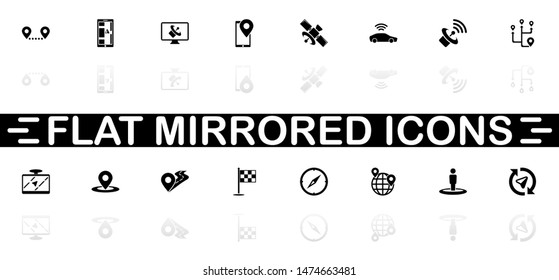 Satelite icons - Black symbol on white background. Simple illustration. Flat Vector Icon. Mirror Reflection Shadow. Can be used in logo, web, mobile and UI UX project.
