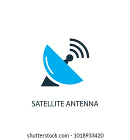 Satellite antenna icon. Logo element illustration. Satellite antenna symbol design from 2 colored collection. Simple Satellite antenna concept. Can be used in web and mobile.