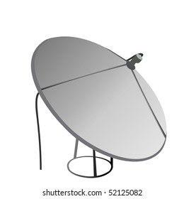Satellite antenna is isolated on white background. Vector