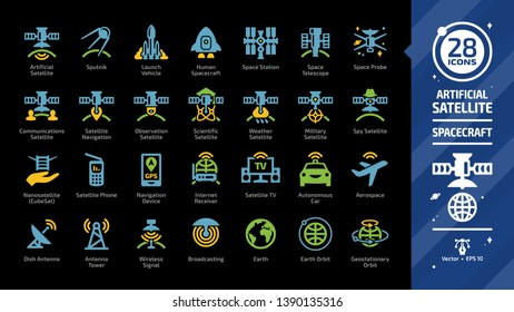 Satellite color icon set on a black background with dish and tower antenna, space station, earth orbit, wireless communication technology, GPS navigation signal, launch vehicle and more glyph sign.