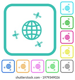 Satellite communication vivid colored flat icons in curved borders on white background