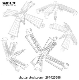 Satellite communications. wireframe vector