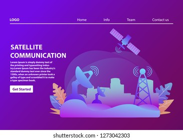 Satellite communication.Wireless technology.Landscape Urban. Landing page template.Flat vector.Artificial satellite