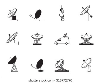 Satellite dish icon set