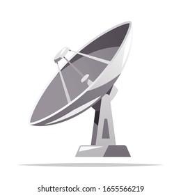 Satellite dish parabolic antenna vector isolated illustration