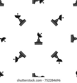 Satellite dish pattern repeat seamless in black color for any design. Vector geometric illustration