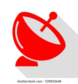 Satellite dish sign. Red icon with flat style shadow path.