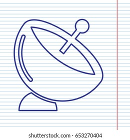 Satellite dish sign. Vector. Navy line icon on notebook paper as background with red line for field.