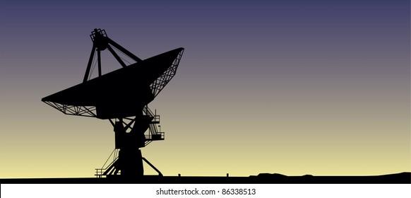 Satellite dish in sunrise vector image