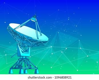 satellite dishes antenna - doppler radar, digital wave, white points, stars, lines, triangles & blue green technology background. Vector illustration / eps10