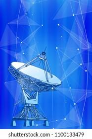 satellite dishes antenna - doppler radar, digital wave, white points, stars, lines, triangles & blue technology background. Vector illustration / eps10