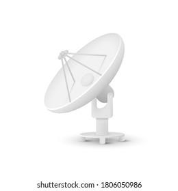 Satellite dishes antenna isolated on white background. Vector illustration. Eps 10.