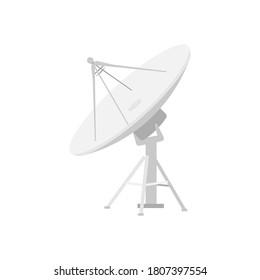 Satellite dishes antenna isolated on white background. Vector illustration.