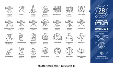 Satellite editable stroke outline icon set with dish and tower antenna, space station, earth orbit, wireless communication technology, GPS navigation signal, human spacecraft and more line sign.