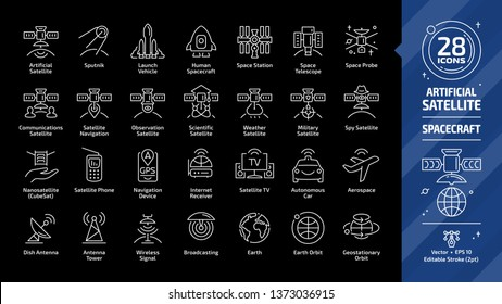 Satellite editable stroke outline icon set on a black background with dish and tower antenna, space station, earth orbit, wireless communication technology, GPS navigation signal and more line sign.