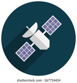 Satellite, Flat design, vector illustration, long shadow