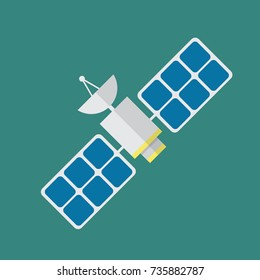 Satellite in flat style. Vector illustration