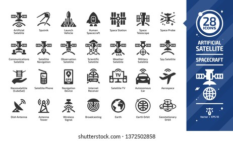 Satellite glyph icon set with dish and tower antenna, space station, earth orbit, wireless communication technology, GPS navigation signal, launch vehicle and more silhouette symbols.