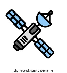 Satellite icon in filled line style about internet of things for any projects, use for website mobile app presentation