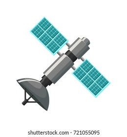 Satellite icon in grey and blue isolated on white background. Cartoon vector illustration in flat style.