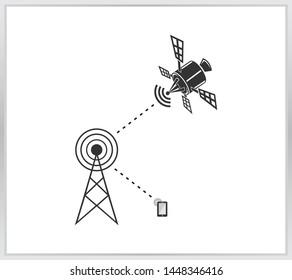 Satellite icon. modern navigation and communication on white background