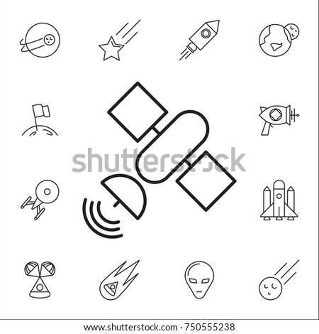 Satellite Icon Set Space Icons Signs Stock Vector Royalty Free