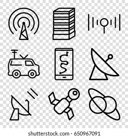 Satellite icons set. set of 9 satellite outline icons such as business center building, tv van, signal
