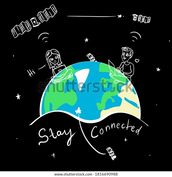 Satellite Internet access. A guy and a girlfriend communicate via space. Small internet satellites in Earth orbit. T-shirt design on black background