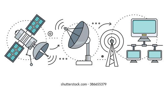 Satellite internet global network providers. Technology wireless, interconnection web, traffic online, connection and communication, wifi webpage, flow information, worldwide. Set of thin, lines icons