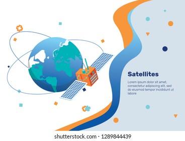 Satellite. Isometric Concept.