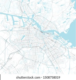 Satellite map of Amsterdam and surrounding areas, Netherlands. Map roads, ring roads and highways, rivers, railway lines