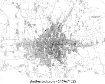 Satellite map of Bishkek formerly Pishpek and Frunze, it is the capital and largest city of Kyrgyzstan. Map of streets and buildings of the town center
