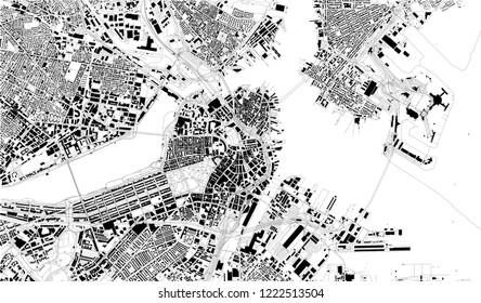 Satellite map of Boston, Massachusetts, city streets. Street map, city center. Usa