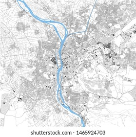 Satellite map of Cairo, it is the capital of Egypt, associated with ancient Egypt, as the famous Giza pyramid complex. The city is situated on the Nile river. Map of streets and buildings of the town