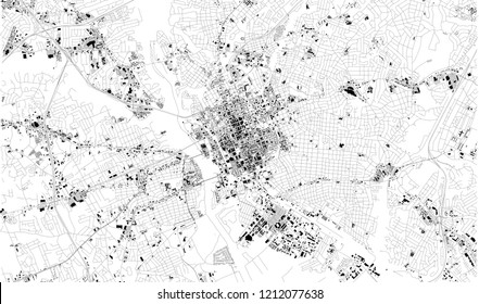 Satellite map of Columbia, South Carolina, city streets. Street map, city center. Usa