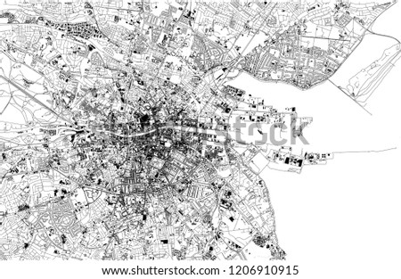 Satellite Map Of Ireland.Satellite Map Dublin Ireland City Streets Stock Vector Royalty Free
