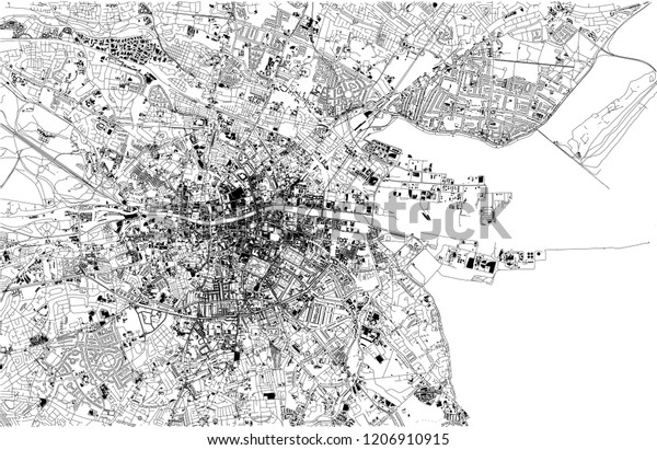Street Map Of Ireland.Satellite Map Dublin Ireland City Streets Stock Vector Royalty Free