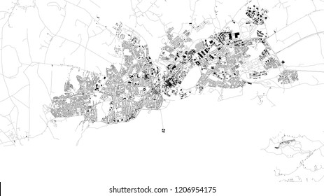 Satellite map of Galway, Ireland, city streets. Street map, city center