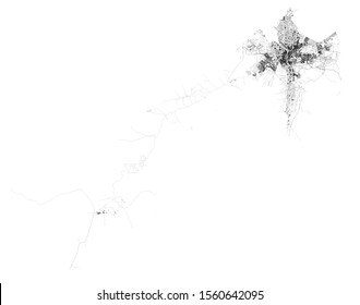 Satellite map of Governorates of Egypt, Cairo Governorate, Giza  and Monufia Governorate, map of the streets ring roads and highways, rivers. Transportation map