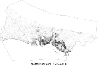 Satellite map of Istanbul and building areas. Turkey. Map roads, ring roads and highways, rivers