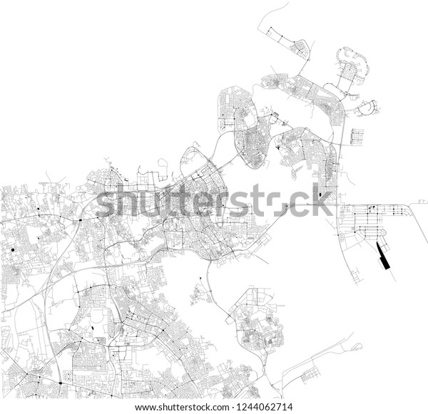 city center bahrain map Satellite Map Manama Capital Largest City Stock Vector Royalty city center bahrain map