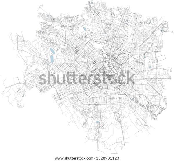 Satellite Map Milan Municipalities City Map Stock Vector Royalty Free 1528931123