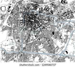 Satellite map of Padua, Padova, Italy, city streets. Street map, city center