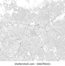 Satellite map of São Paulo, Sao Paulo, it is the most populous city in Brazil. South America. Map of streets of the town center