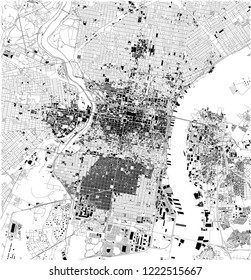 Satellite map of Philadelphia, Philly, Pennsylvania, city streets. Street map, city center. Usa